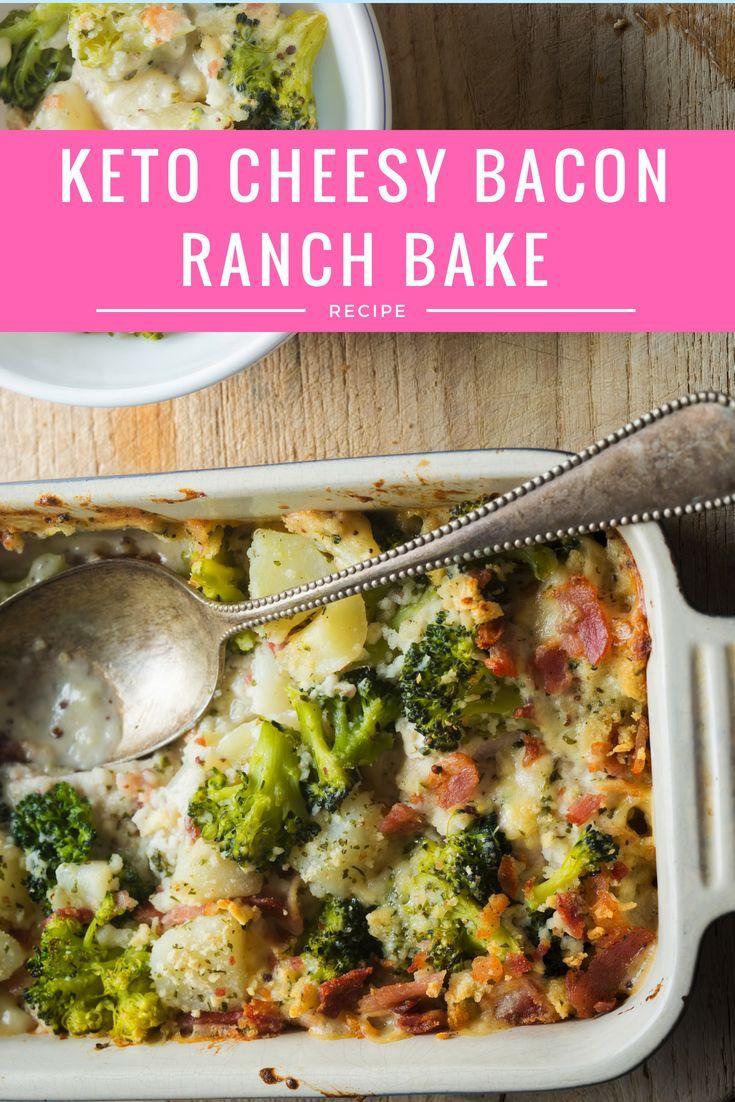 Keto Cheesy Bacon Ranch Bake #keto #ketodinner #ketorecipes #ketolunch #ketocomfortfood #lchf #ketodiet #ketogennic