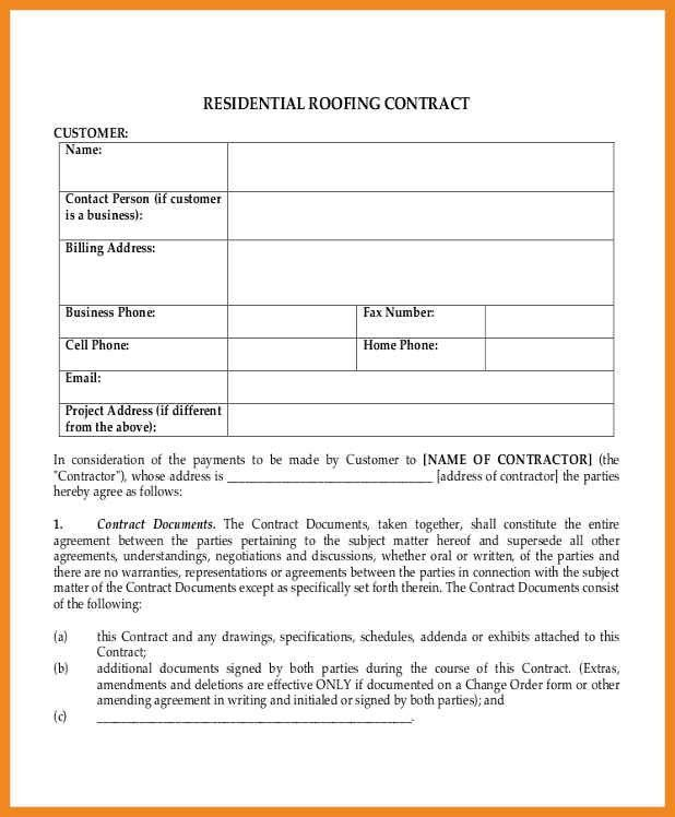 Roofing Contract Form 5 Roofing Contract Templates Free Pdf - contract amendment template