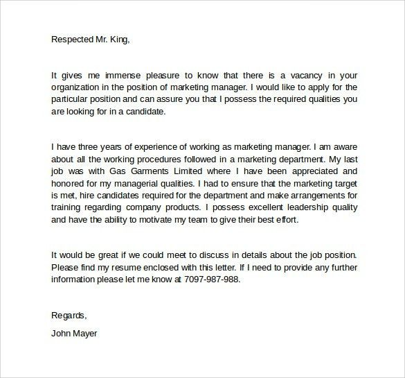 Cover Letter Marketing Marketing Cover Letter Example Sample - entry level marketing cover letter