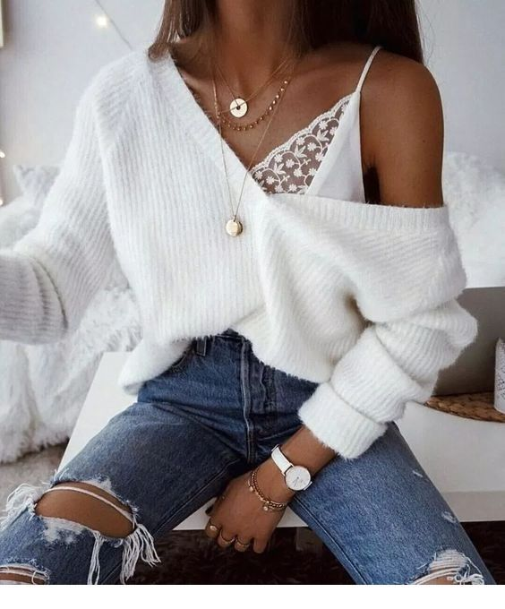 Nice white top and sweater with jeans