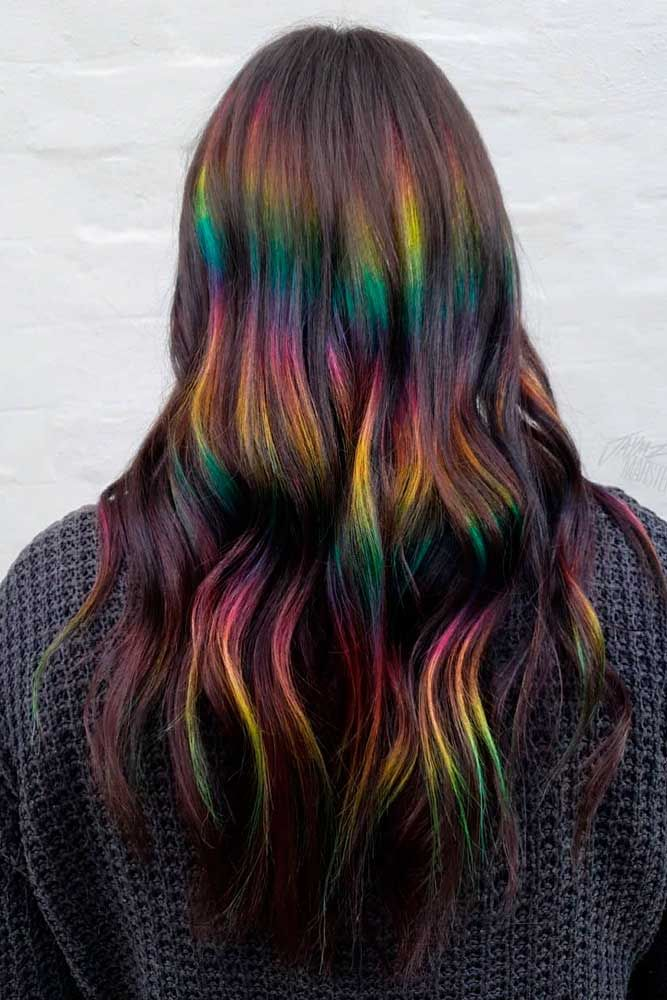 Rainbow Ombre Accents For Long Layered Hair #rainbowhair #ombrehairstyles ★ Explore trendy long haircuts with layers for women. We have ideas for wavy, straight, thin and for thick hair. #glaminati #lifestyle #longhaircuts
