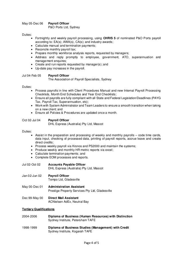 Payroll Specialist Resume Resume Sample cover letter for payroll
