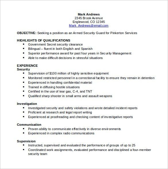 Security Guard Resume Unforgettable Security Guard Resume - security resume