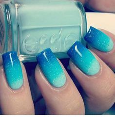 Blue nail summer design