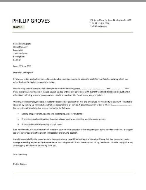 Cooking instructor cover letter