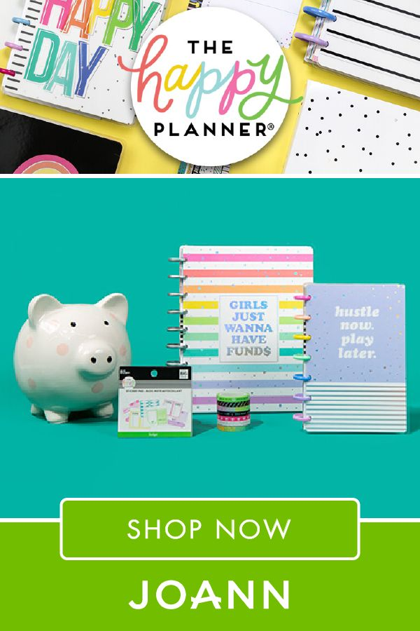 If your New Year's resolution is to stay organized, JOANN is here to help! Click here to find their assortment of The Happy Planner products that are great for planning, budget & tracking, and fitness & wellness.