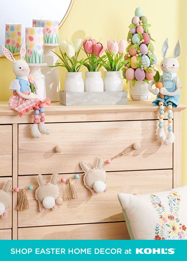 Fill your home with sweet Easter style. Layer on bright colors, cute bunnies and floral accents for a festive spring look everyone will love. Shop Easter pillows, decor, candles and more at Kohl's and Kohls.com. #easter #springdecor