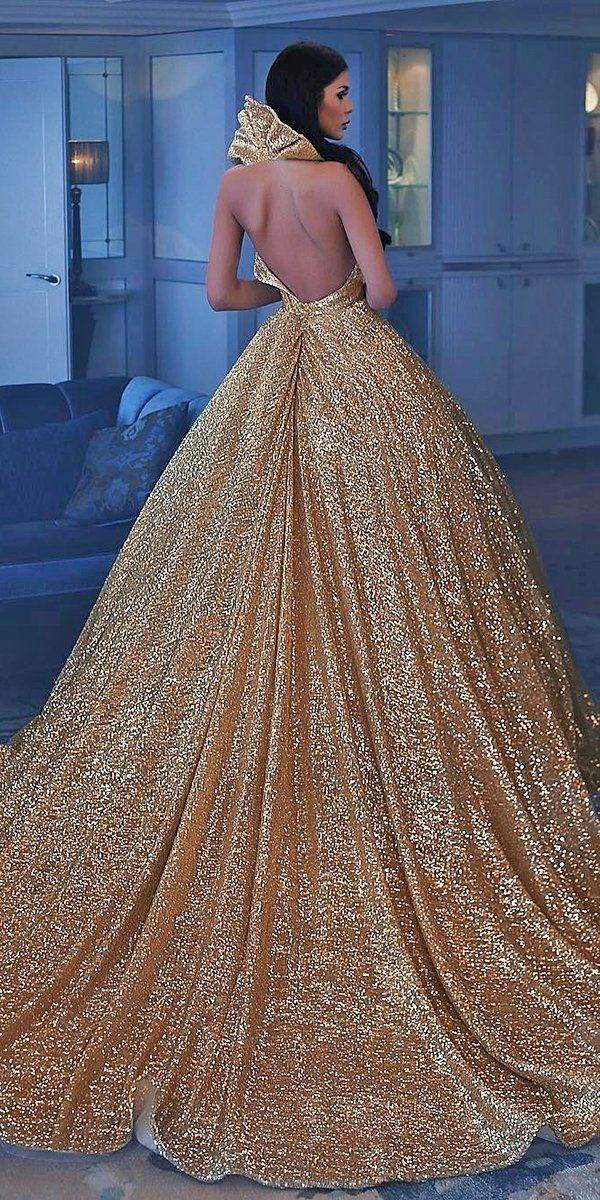 24 Colourful Wedding Dresses For Non-Traditional Bride ❤ colourful wedding dresses ball gown backless gold with seauins saidmhamadofficia #weddingforward #wedding #bride
