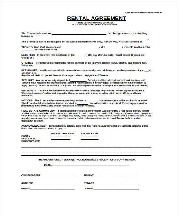 Tenant Agreement Form Free Free Rental Forms To Print Free And - agreement form sample