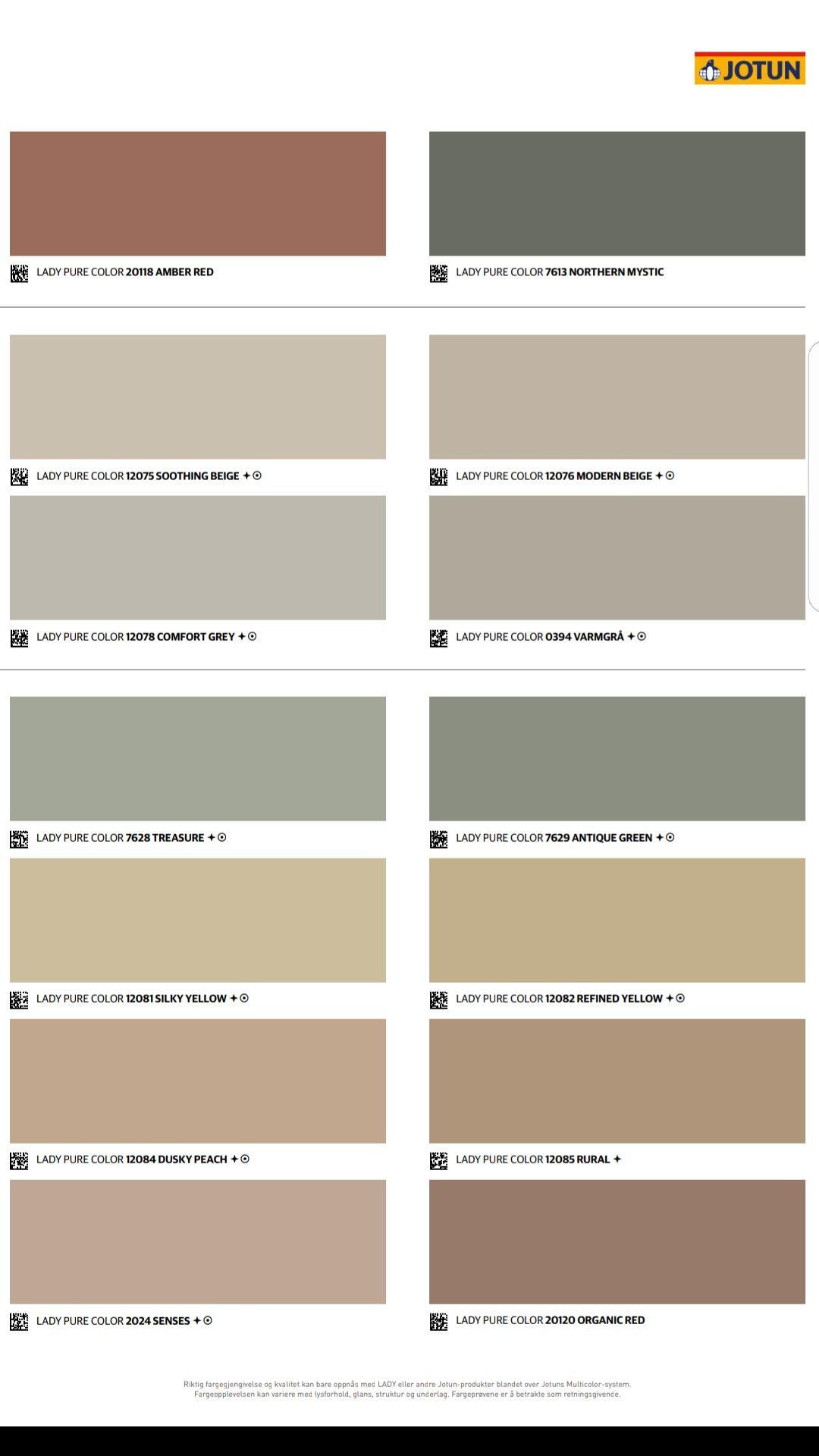 Jotun Fargekart 2019 Identity Malingsfarger Fargekart