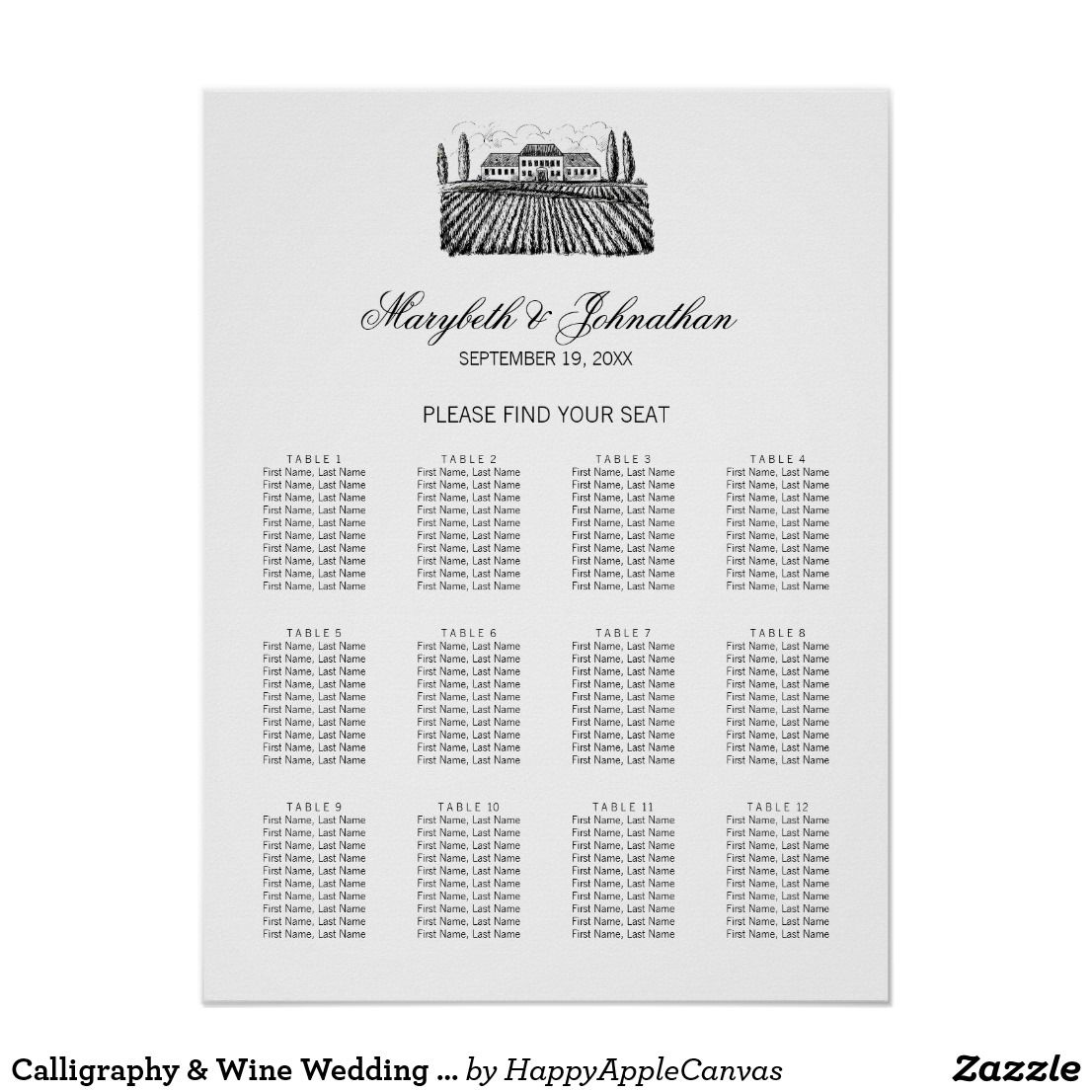 Calligraphy & Wine Wedding Seating Chart Poster