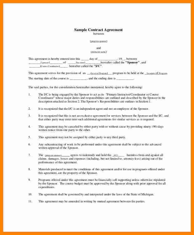 Contract Template Between Two Parties Sample Contract Agreement - job agreement contract
