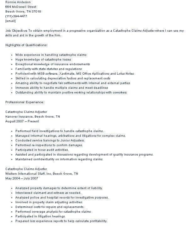 property insurance adjuster sample resume node2002-cvresume - catastrophic claims adjuster sample resume