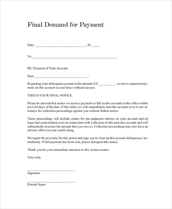 Demand Letter For Payment Final Demand For Payment Letter - sample final notice letter