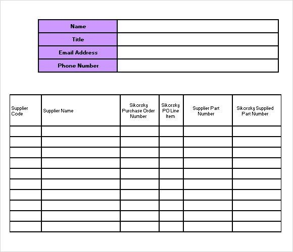 Supply List Template Supply Inventory Template 5 Free Word Excel - food inventory template