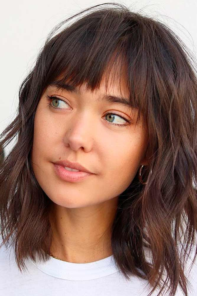 Piecy Layers and Wispy Bangs #shaggyhair #brownhairstyles ★ Bob haircuts will never lose their popularity. Whether short or long, angled or stacked, straight or wavy, a bob looks awesome. #glaminati #lifestyle #bobhaircuts