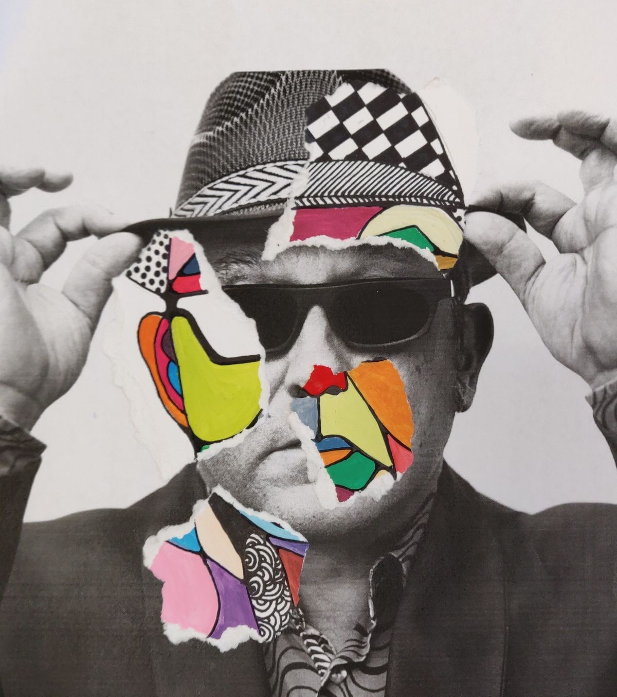 Combo collage painting, style Antonio Colomboni, 2018