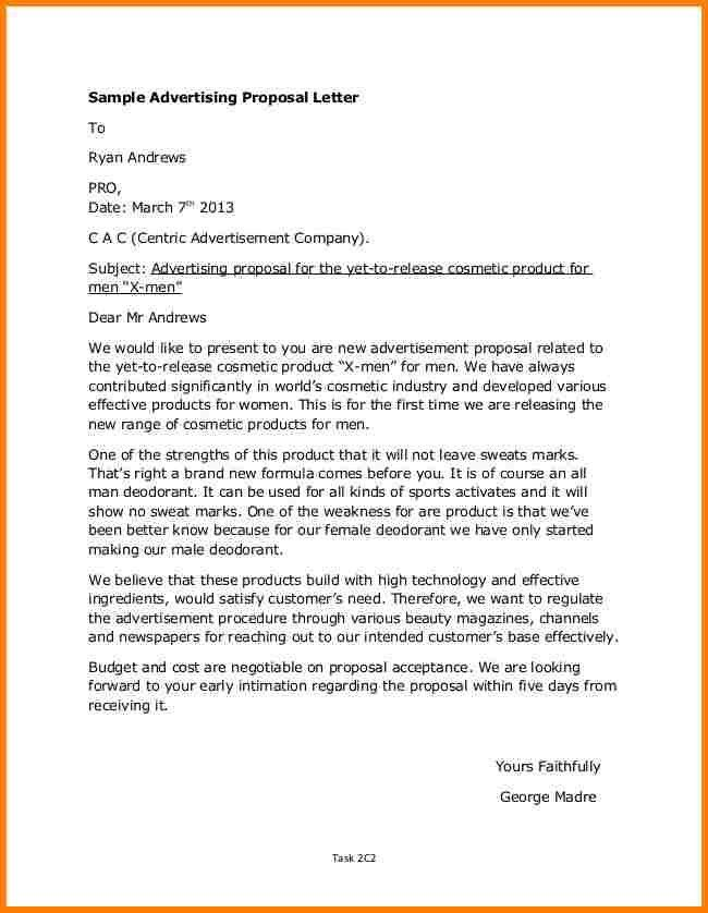 Sample Of Proposal Letter For Product Sample Product Proposal - advertising proposal template