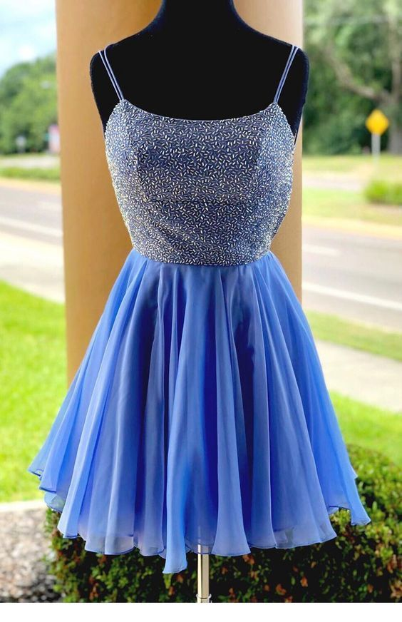 Amazing blue short dress with some glitter