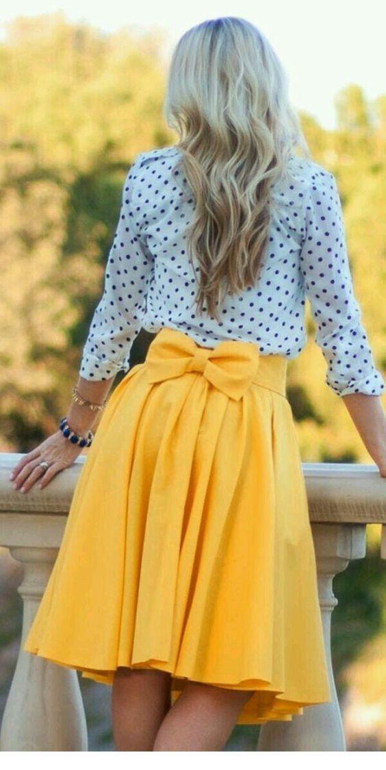 Polka dot blouse and yellow skirt
