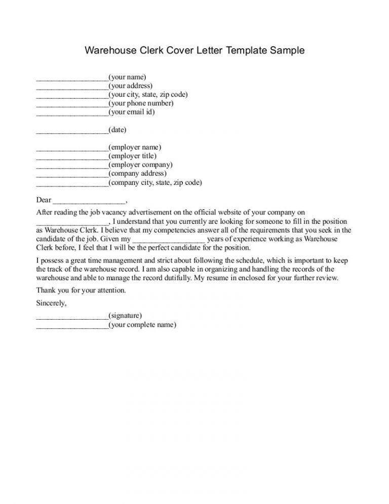 ... Sample Warehouse Clerk Resume Him Clerk Cover Letter, Warehouse   Tally  Clerk Cover Letter ...