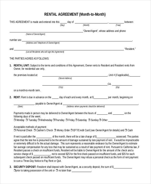 Rental Agreement Form Template Printable Sample Rental Lease - sample security agreement
