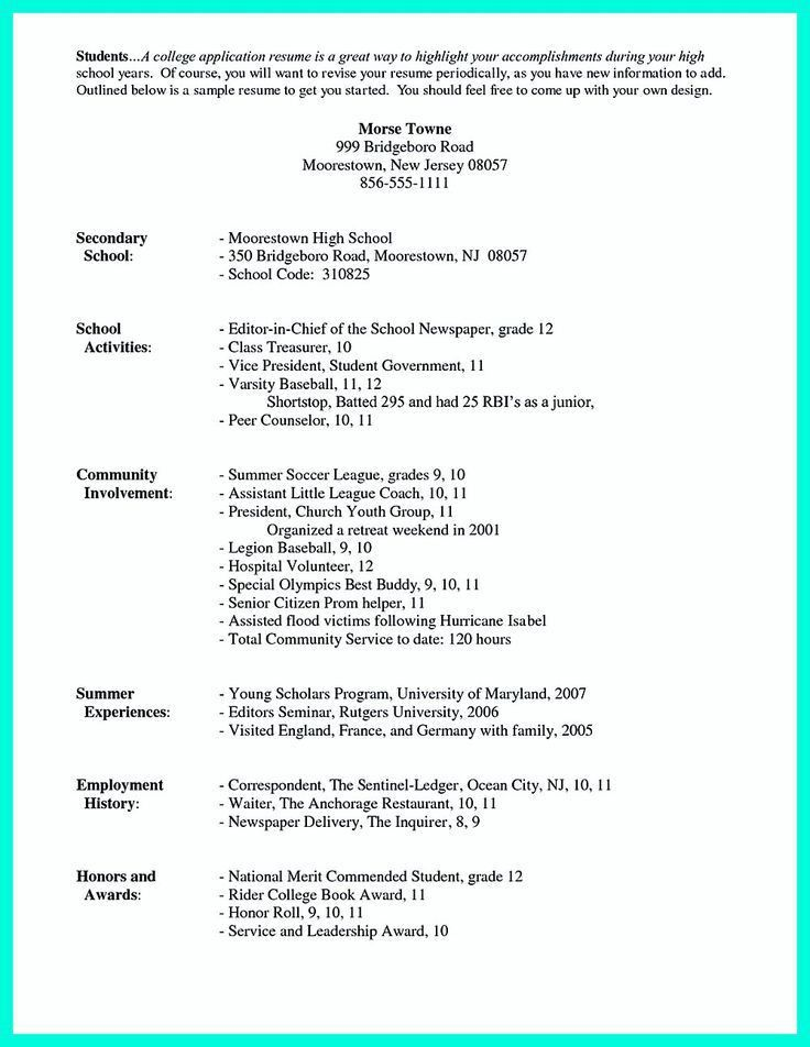 College Application Resume Sample College Resume Examples For - college admissions resume