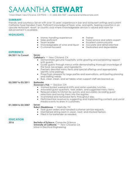 fine dining server resume samples