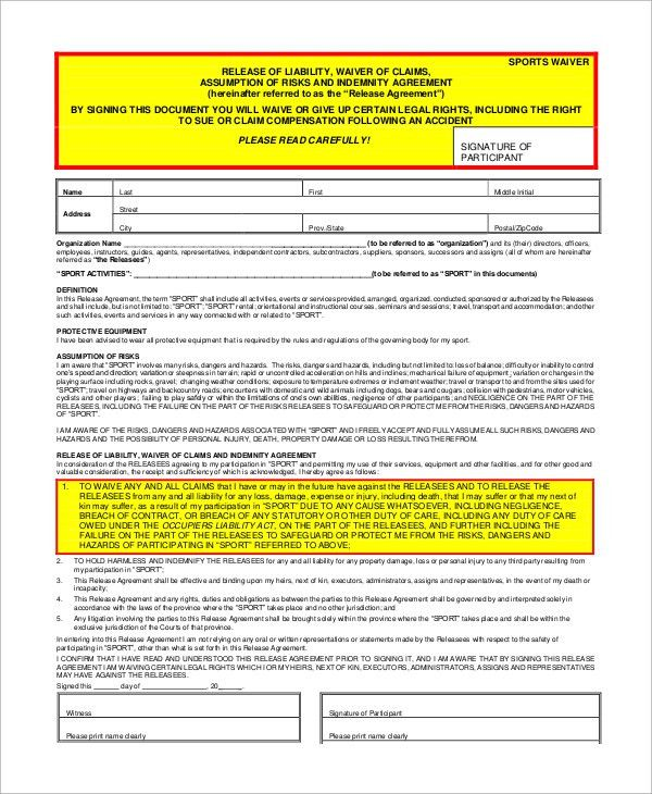 Release Of Liability Waiver Template Release Of Liability Form - liability waiver form