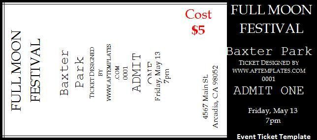 Free Event Ticket Template Event Ticket Template Templates For - printable ticket template free