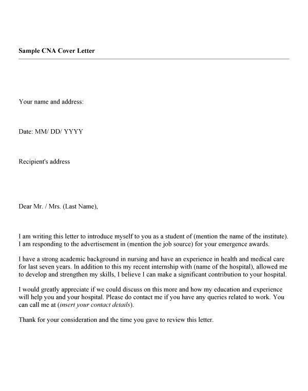 certified nursing assistant cover letter samples