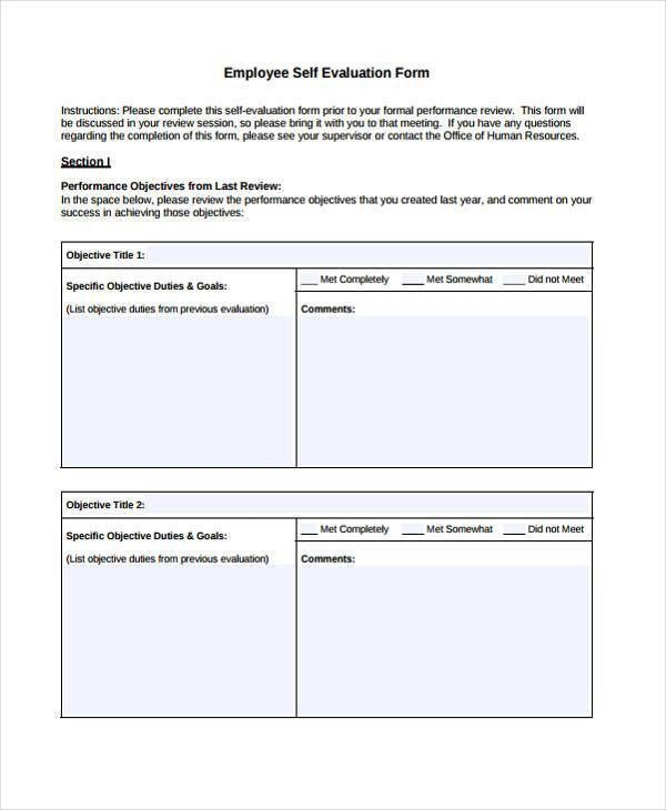 Beautiful Employee Self Evaluation Forms Free Images - Resume Ideas