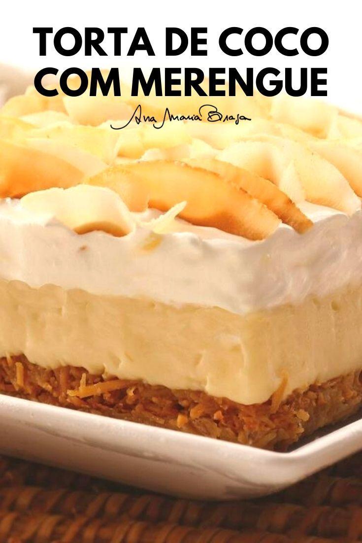 Torta de coco com merengue