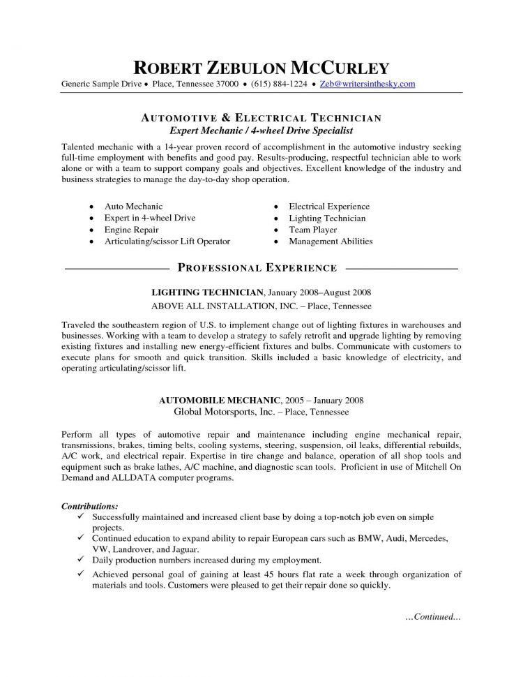 Sample Auto Mechanic Resume Unforgettable Automotive Technician
