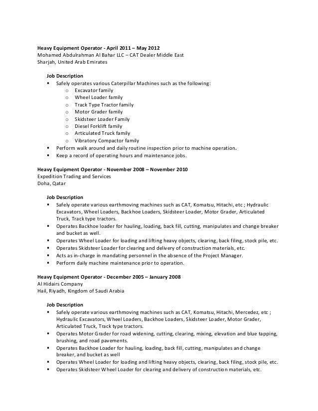 Construction Equipment Operator Sample Resume oakandale