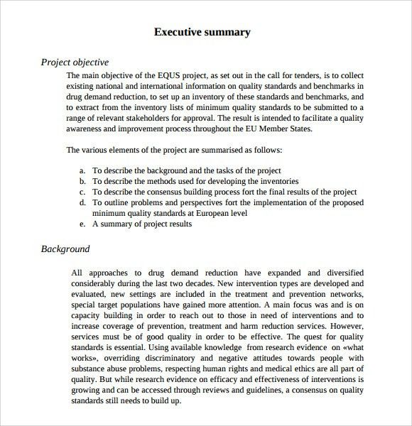template for executive summary report radiotodorock