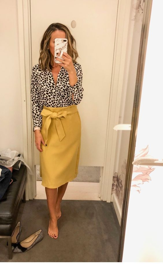 Nice leo shirt and yellow skirt
