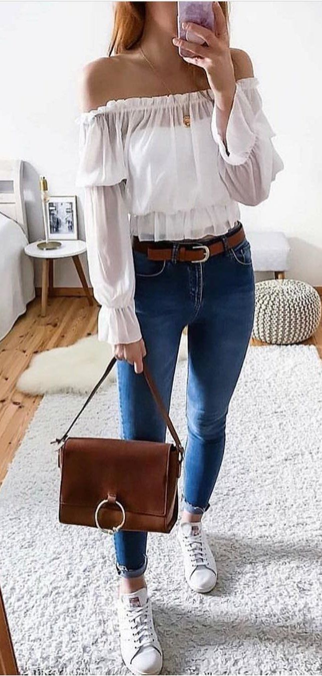 white off-shoulder long-sleeved shirt #spring #outfits