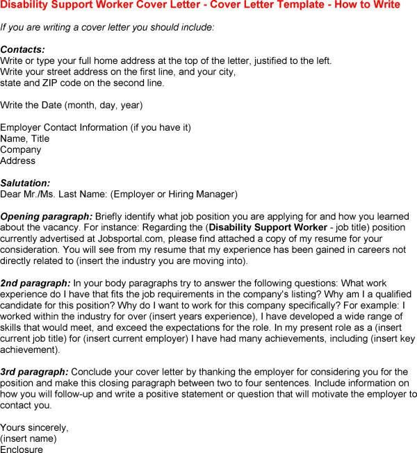 Sample Disability Support Worker Cover Letter   Cover Letter