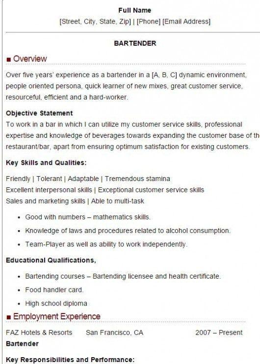 bartending resume example unforgettable bartender resume examples bartending resume example - Experienced Bartender Resume