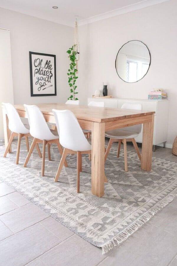 mesa com cadeira branca para sala de jantar clean com espelho redondo #cadeirabranca #cadeirabrancajantar #cadeirabrancaquarto