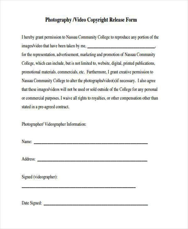 Release Forms Template Media Release Form Template 8 Free Sample - videography contract template