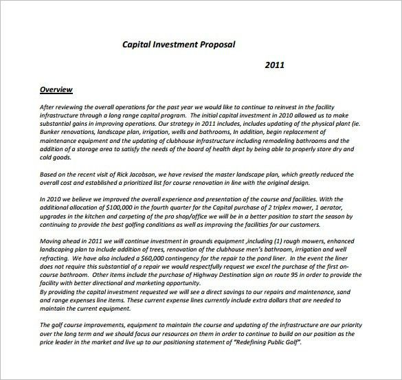 Investor Proposal Template Investment Proposal Template 11 Free - purchase proposal sample