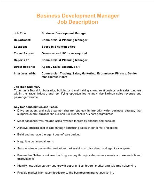 Sales Executive Job Responsibilities Sales Executive Job - business manager job description