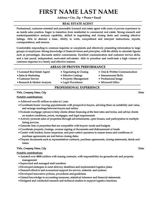real estate resume samples