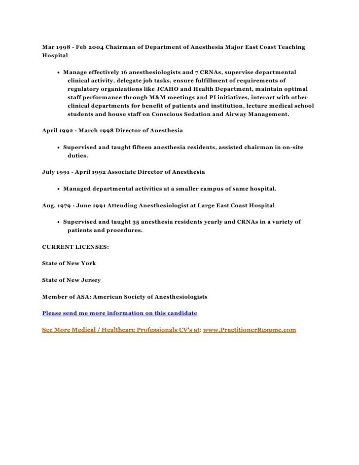 anesthesiologist resume image collections resume format examples 2018