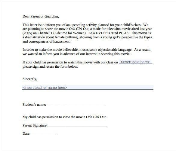 Parental Permission Letter Parent Letter Template 10 Free Word - permission letter