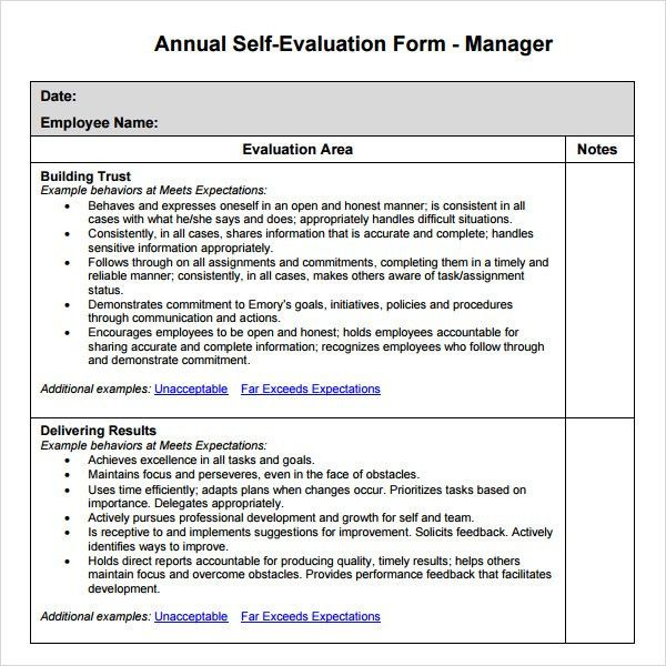 annual employee evaluation samples
