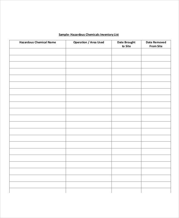 Sample Of Inventory List Sample Inventory List 11 Free Word Excel - inventory list example