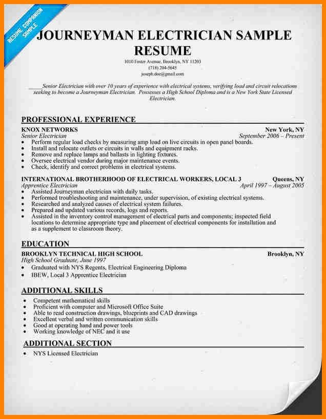 Resume Sample Electrician Unforgettable Journeymen Electricians - electrician resume template